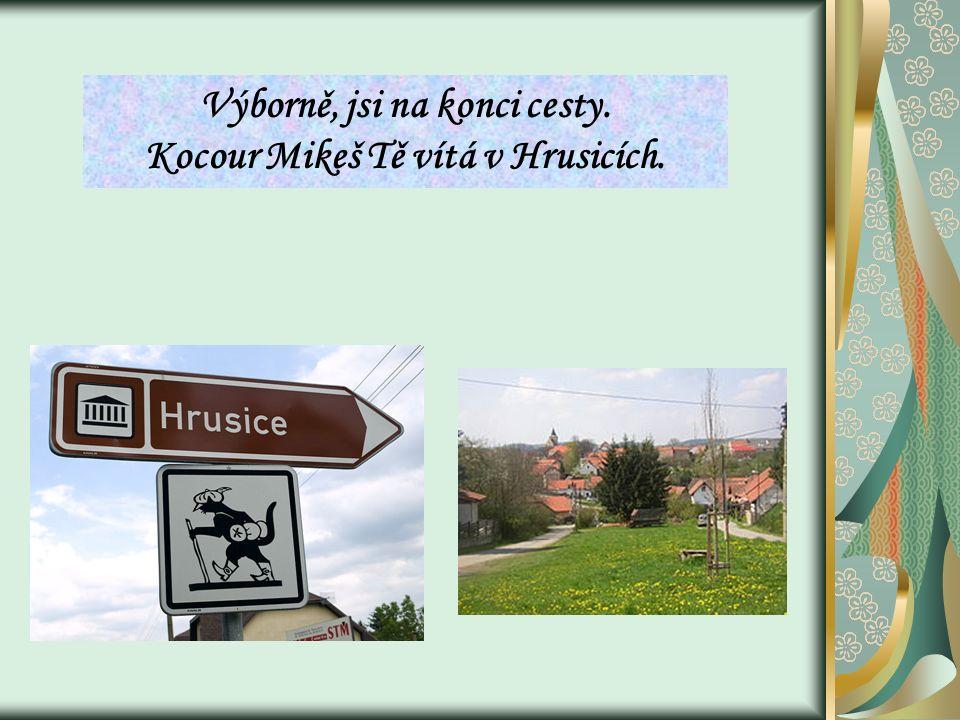 Výborně, jsi na konci cesty. Kocour Mikeš Tě vítá v Hrusicích.