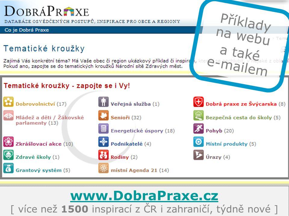 www.DobraPraxe.cz www.DobraPraxe.cz [ více než 1500 inspirací z ČR i zahraničí, týdně nové ] Příklady na webu a také e-mailem