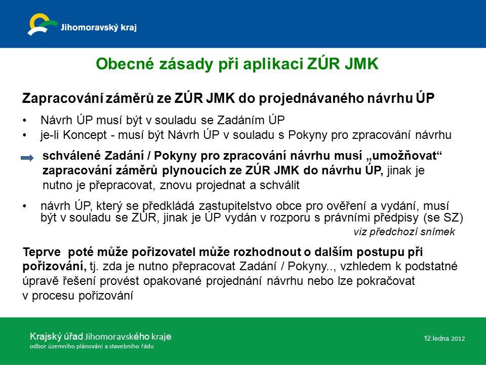 """Zapracování záměrů ze ZÚR JMK do projednávaného návrhu ÚP Návrh ÚP musí být v souladu se Zadáním ÚP je-li Koncept - musí být Návrh ÚP v souladu s Pokyny pro zpracování návrhu schválené Zadání / Pokyny pro zpracování návrhu musí """"umožňovat zapracování záměrů plynoucích ze ZÚR JMK do návrhu ÚP, jinak je nutno je přepracovat, znovu projednat a schválit návrh ÚP, který se předkládá zastupitelstvo obce pro ověření a vydání, musí být v souladu se ZÚR, jinak je ÚP vydán v rozporu s právními předpisy (se SZ) viz předchozí snímek Teprve poté může pořizovatel může rozhodnout o dalším postupu při pořizování, tj."""