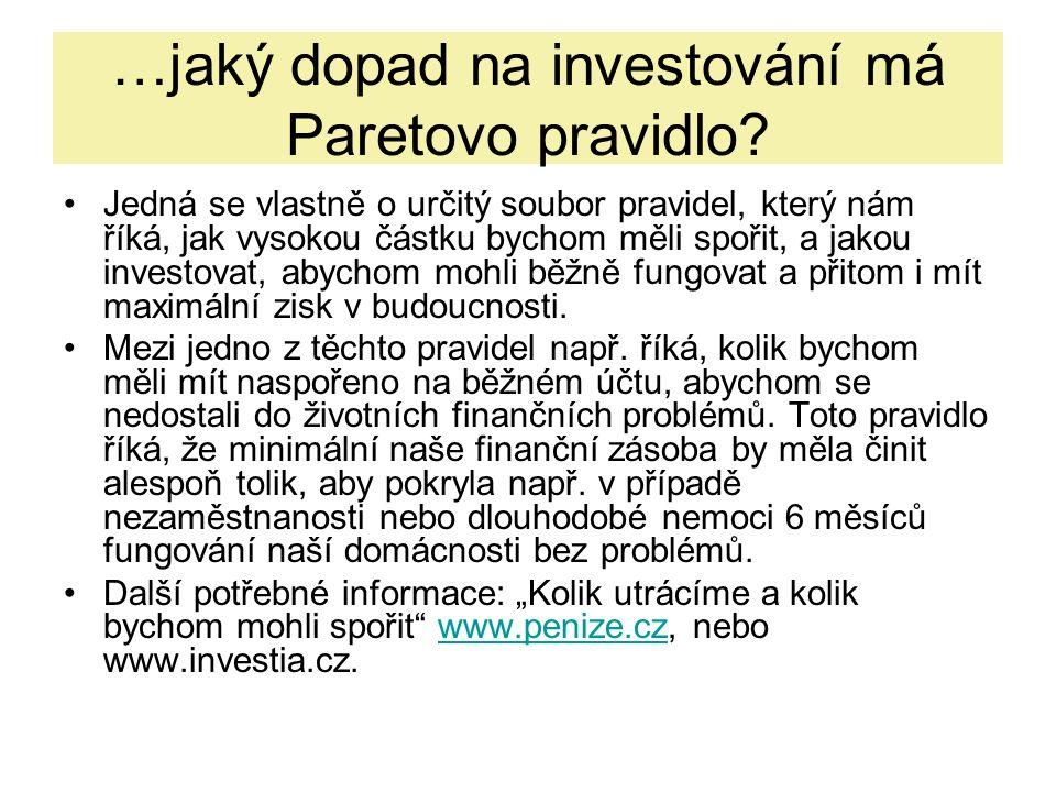 …jaký dopad na investování má Paretovo pravidlo.