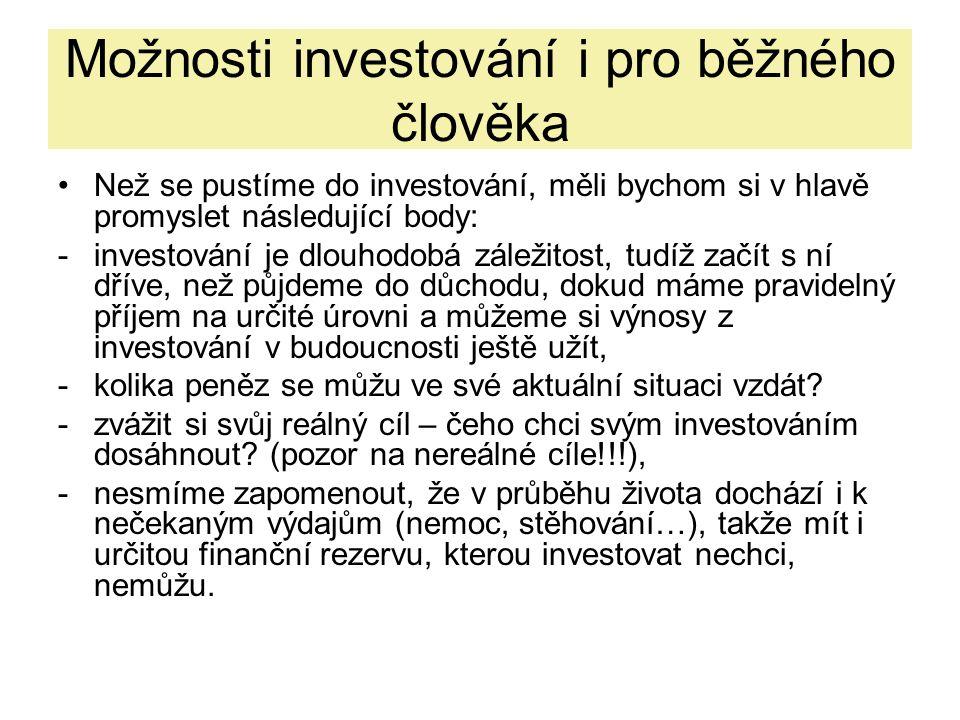 Možnosti investování i pro běžného člověka Než se pustíme do investování, měli bychom si v hlavě promyslet následující body: -investování je dlouhodob