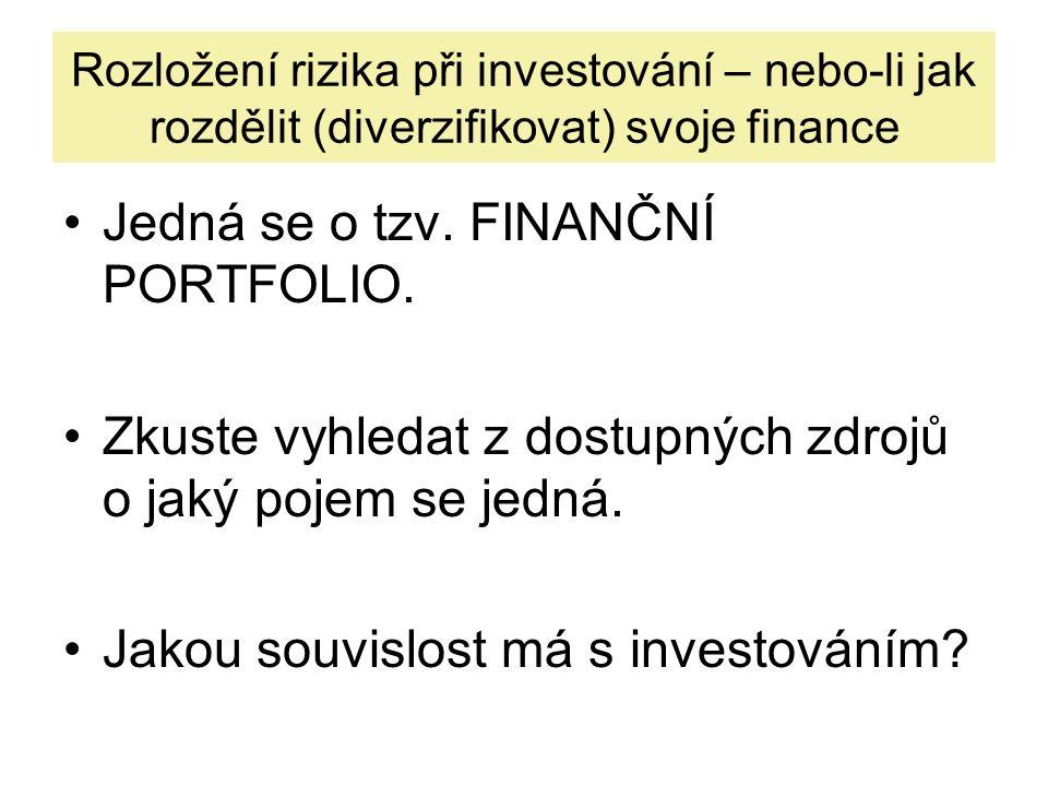 Rozložení rizika při investování – nebo-li jak rozdělit (diverzifikovat) svoje finance Jedná se o tzv. FINANČNÍ PORTFOLIO. Zkuste vyhledat z dostupnýc