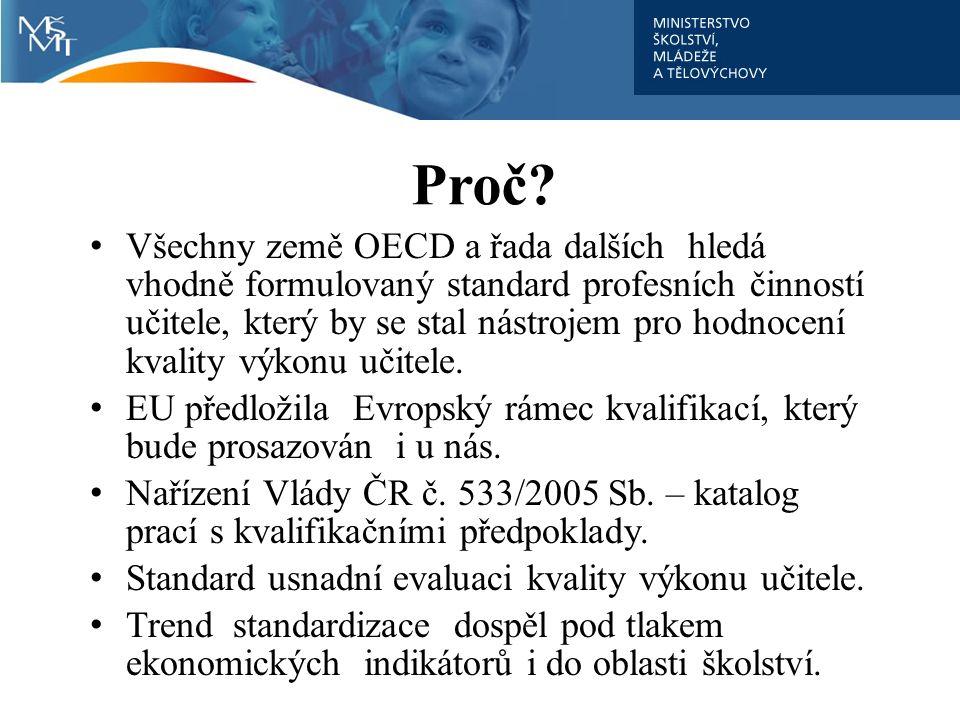 Proč? Všechny země OECD a řada dalších hledá vhodně formulovaný standard profesních činností učitele, který by se stal nástrojem pro hodnocení kvality
