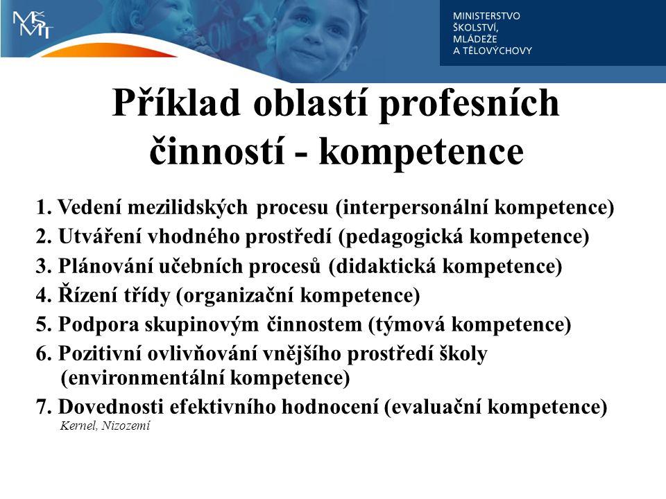 Příklad oblastí profesních činností - kompetence 1. Vedení mezilidských procesu (interpersonální kompetence) 2. Utváření vhodného prostředí (pedagogic