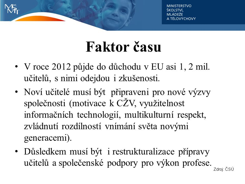 Faktor času V roce 2012 půjde do důchodu v EU asi 1, 2 mil. učitelů, s nimi odejdou i zkušenosti. Noví učitelé musí být připraveni pro nové výzvy spol