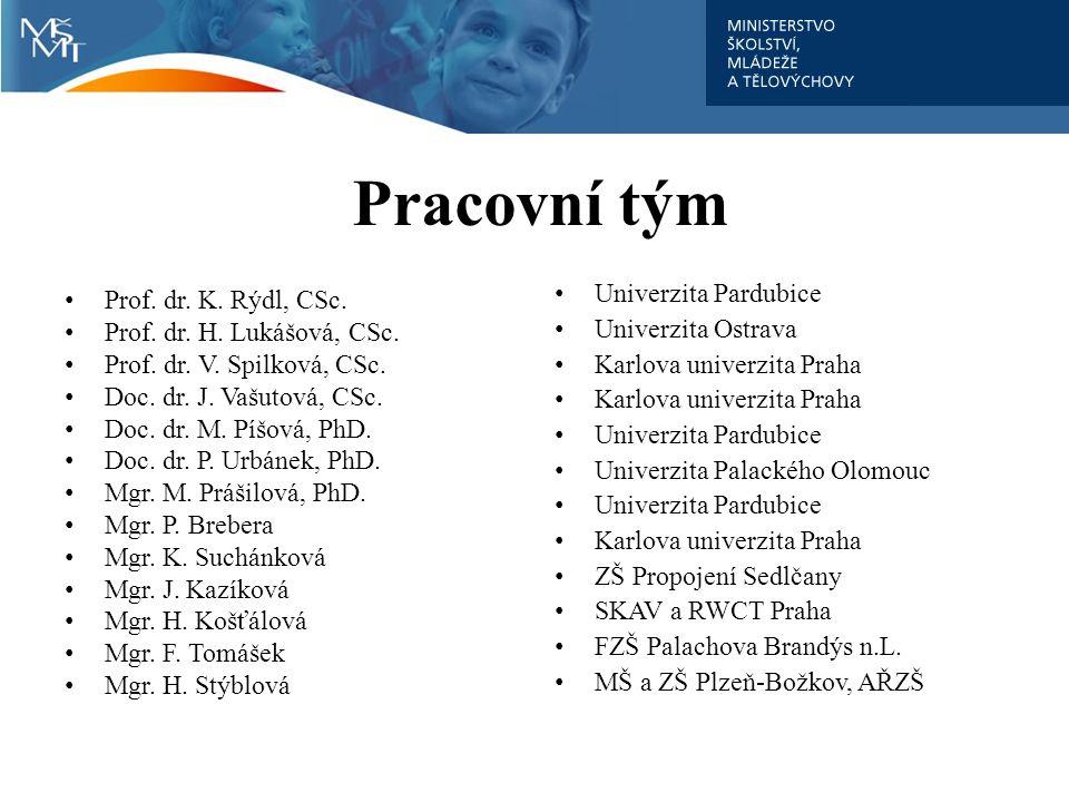 Pracovní tým Prof. dr. K. Rýdl, CSc. Prof. dr. H. Lukášová, CSc. Prof. dr. V. Spilková, CSc. Doc. dr. J. Vašutová, CSc. Doc. dr. M. Píšová, PhD. Doc.