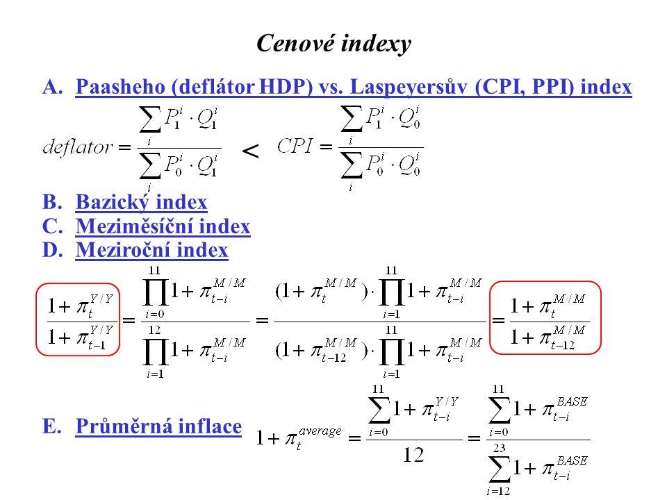 Cenové indexy A.Paasheho (deflátor HDP) vs. Laspeyersův (CPI, PPI) index < B.Bazický index C.Meziměsíční index D.Meziroční index E.Průměrná inflace