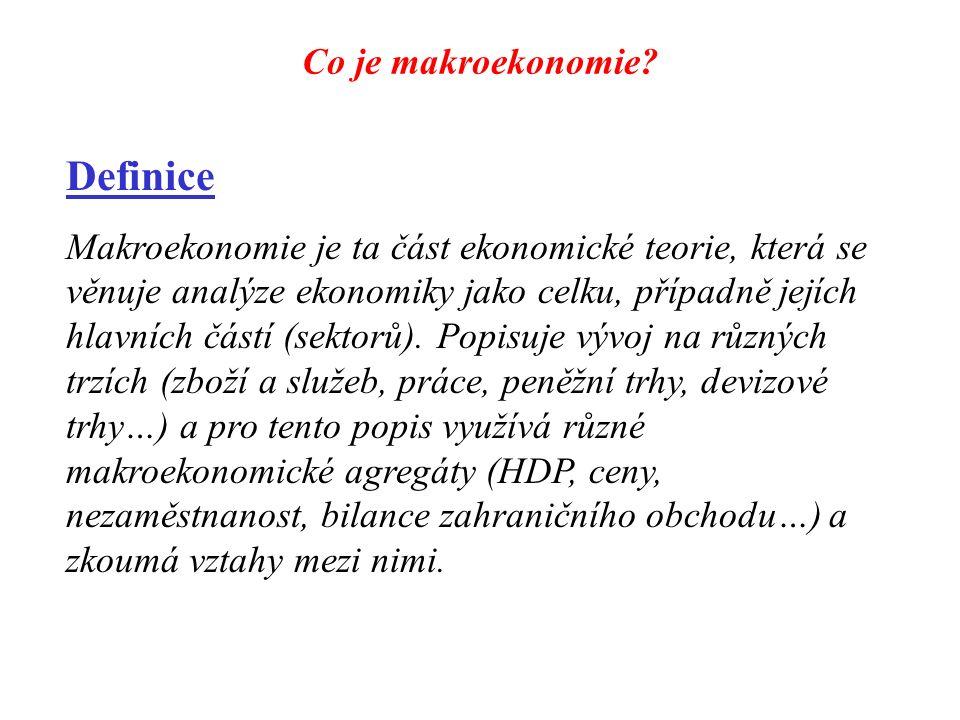 Co je makroekonomie? Definice Makroekonomie je ta část ekonomické teorie, která se věnuje analýze ekonomiky jako celku, případně jejích hlavních částí
