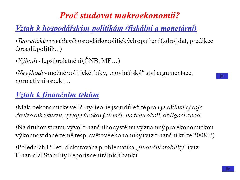 Proč studovat makroekonomii? Vztah k hospodářským politikám (fiskální a monetární) Teoretické vysvětlení hospodářkopolitických opatření (zdroj dat, pr
