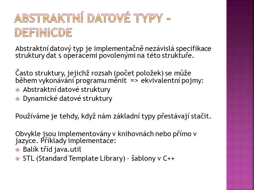 Abstraktní datový typ je implementačně nezávislá specifikace struktury dat s operacemi povolenými na této struktuře. Často struktury, jejichž rozsah (