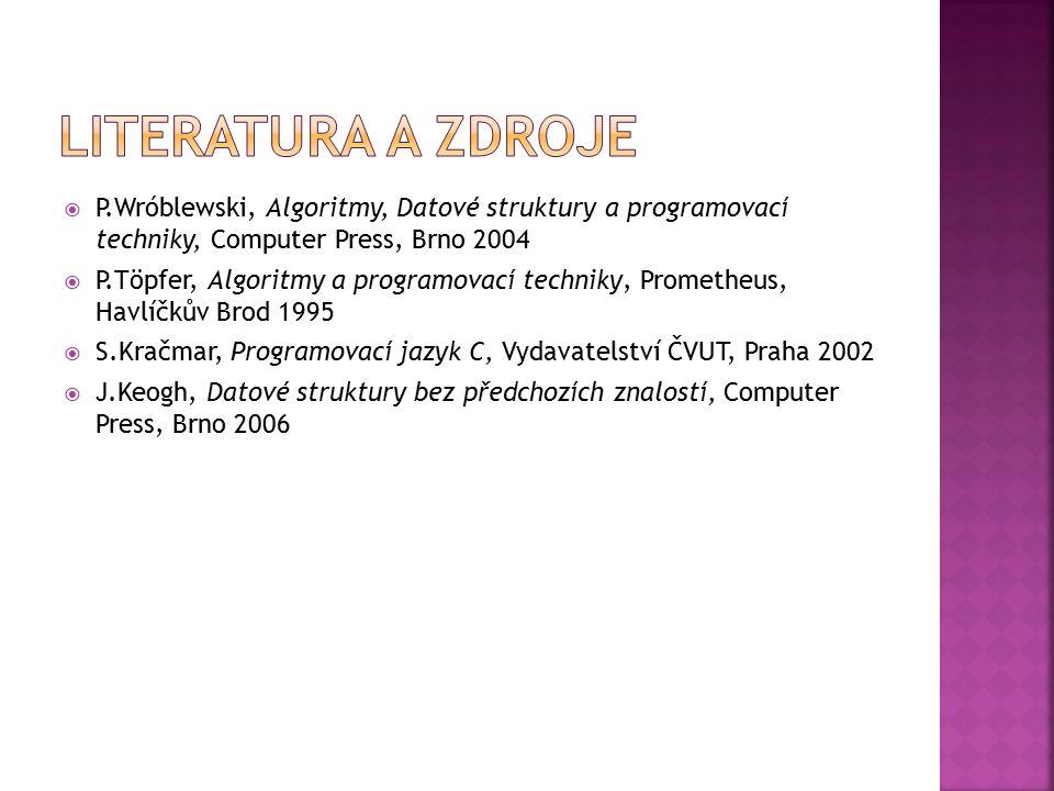  P.Wróblewski, Algoritmy, Datové struktury a programovací techniky, Computer Press, Brno 2004  P.Töpfer, Algoritmy a programovací techniky, Promethe