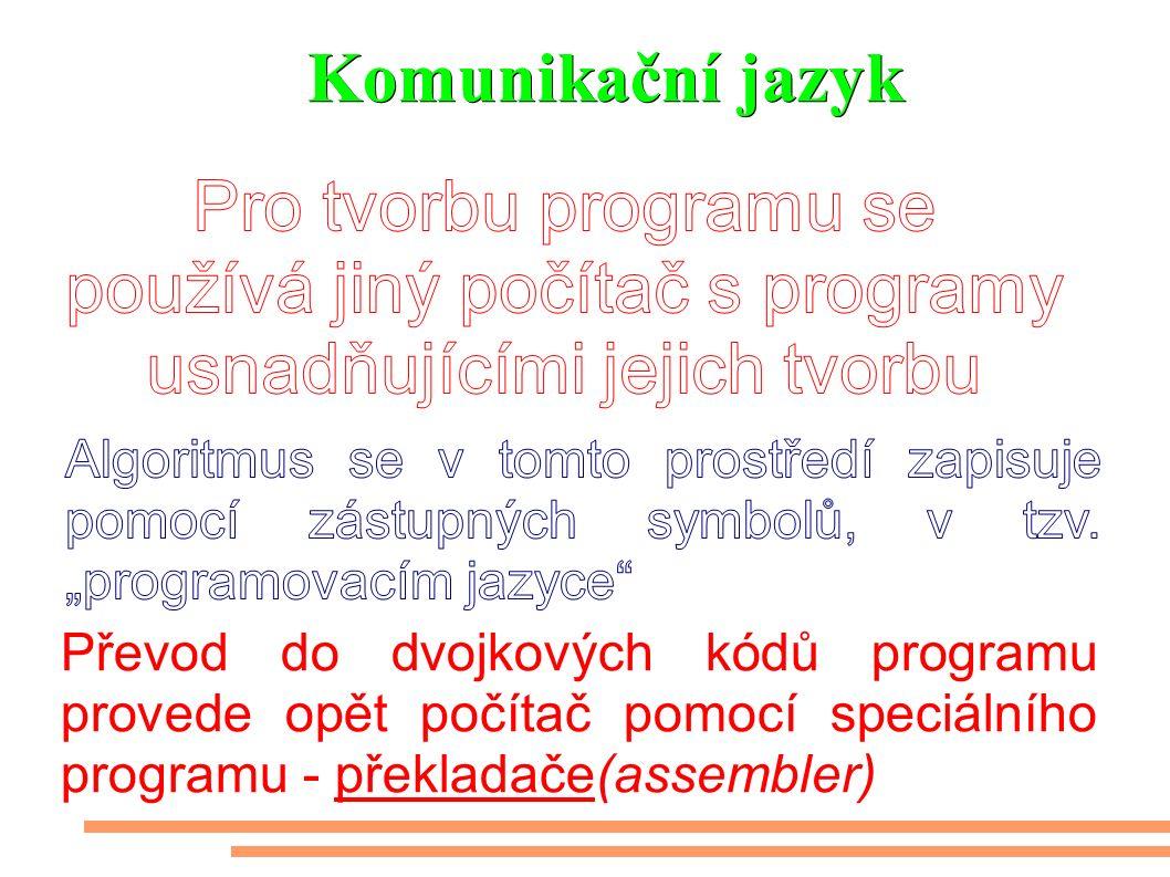 Komunikační jazyk Převod do dvojkových kódů programu provede opět počítač pomocí speciálního programu - překladače(assembler)