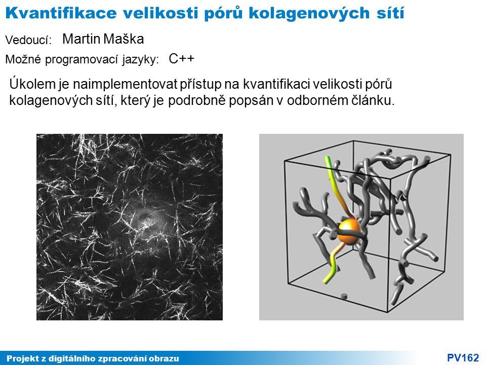 Projekt z digitálního zpracování obrazu PV162 Vedoucí: Možné programovací jazyky: Kvantifikace velikosti pórů kolagenových sítí Úkolem je naimplemento