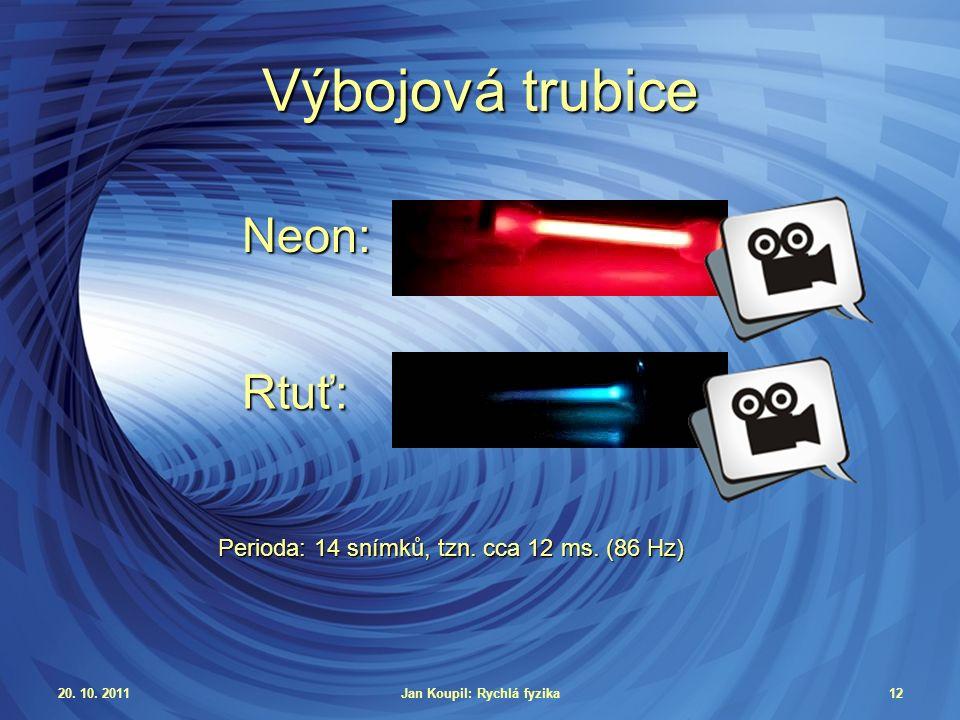 20. 10. 2011Jan Koupil: Rychlá fyzika12 Výbojová trubice Rtuť: Neon: Perioda: 14 snímků, tzn.