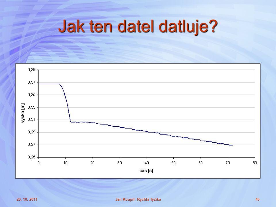 20. 10. 2011Jan Koupil: Rychlá fyzika46 Jak ten datel datluje?