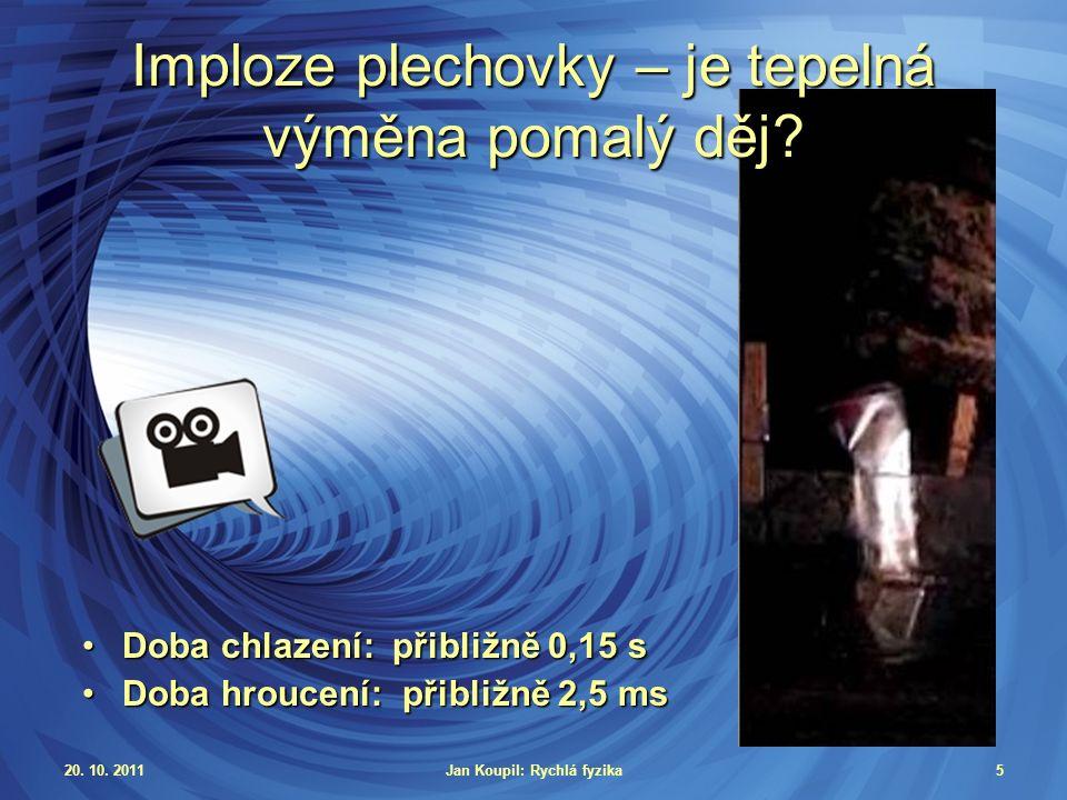20. 10. 2011Jan Koupil: Rychlá fyzika5 Imploze plechovky – je tepelná výměna pomalý děj.