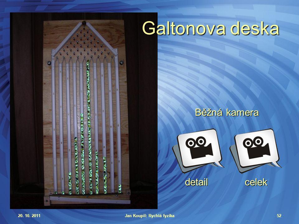 20. 10. 2011Jan Koupil: Rychlá fyzika52 Galtonova deska Běžná kamera detailcelek