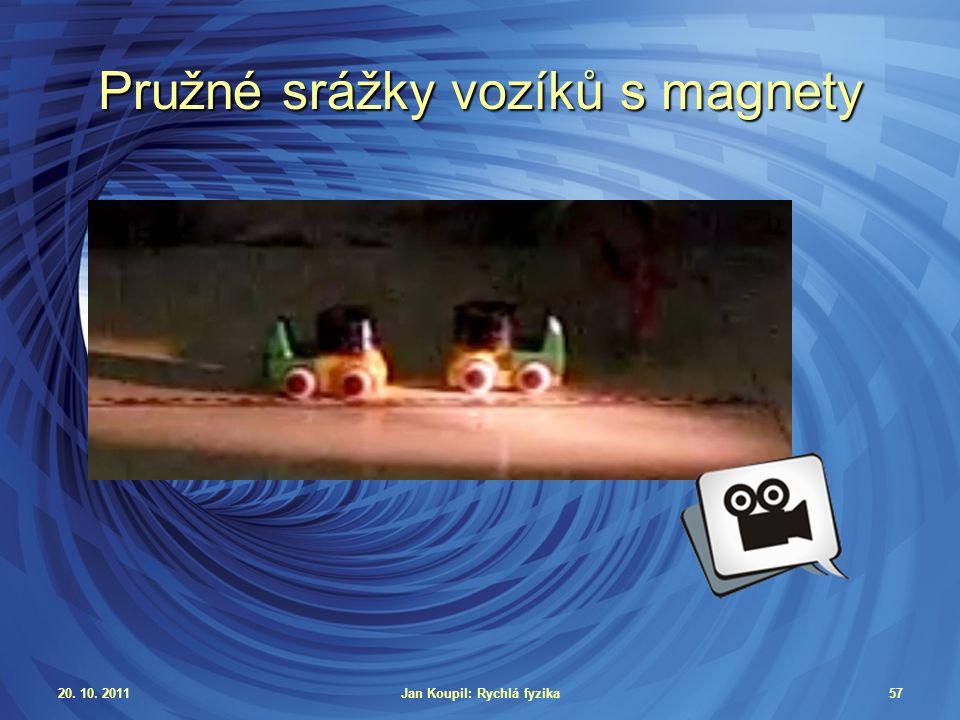 20. 10. 2011Jan Koupil: Rychlá fyzika57 Pružné srážky vozíků s magnety