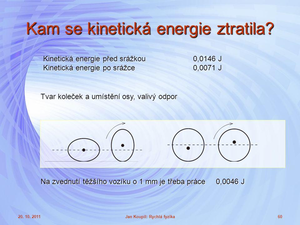 20. 10. 2011Jan Koupil: Rychlá fyzika60 Kam se kinetická energie ztratila.