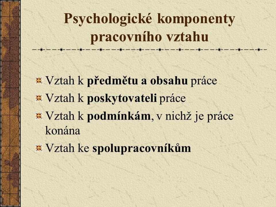 Psychologické komponenty pracovního vztahu Vztah k předmětu a obsahu práce Vztah k poskytovateli práce Vztah k podmínkám, v nichž je práce konána Vztah ke spolupracovníkům