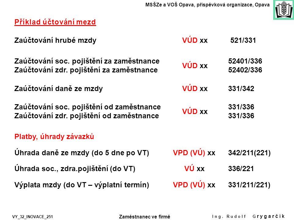 Zaúčtování hrubé mzdy Zaúčtování soc. pojištění za zaměstnance Zaúčtování zdr. pojištění za zaměstnance Úhrada soc., zdra.pojištění (do VT) Příklad úč