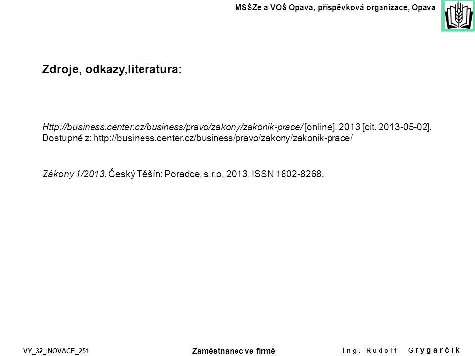 Zdroje, odkazy,literatura: MSŠZe a VOŠ Opava, příspěvková organizace, Opava VY_32_INOVACE_251 Ing. Rudolf G rygarčík Http://business.center.cz/busines