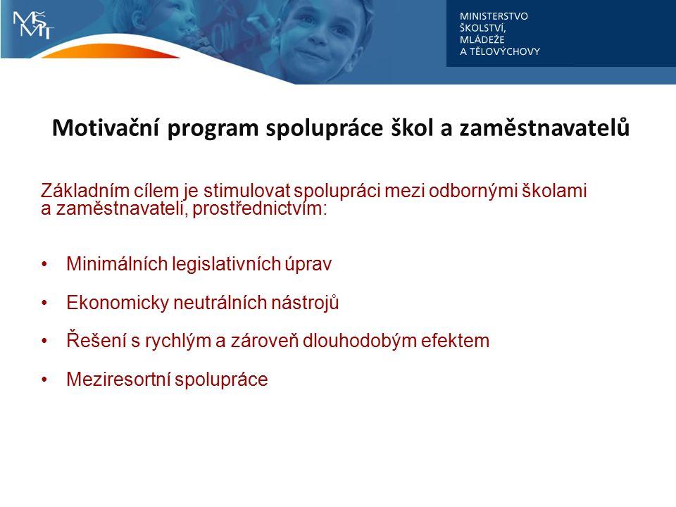 Základním cílem je stimulovat spolupráci mezi odbornými školami a zaměstnavateli, prostřednictvím: Minimálních legislativních úprav Ekonomicky neutrál