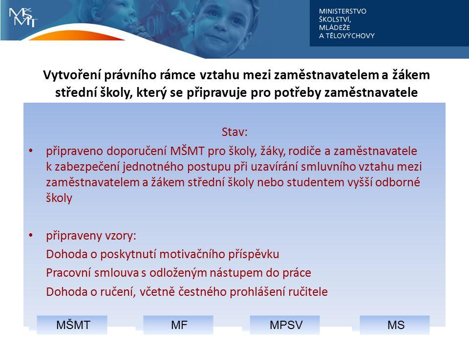 MF MPSV MŠMT Vytvoření právního rámce vztahu mezi zaměstnavatelem a žákem střední školy, který se připravuje pro potřeby zaměstnavatele MS Stav: připr