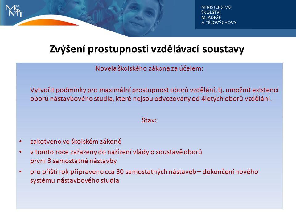 Zvýšení prostupnosti vzdělávací soustavy Novela školského zákona za účelem: Vytvořit podmínky pro maximální prostupnost oborů vzdělání, tj. umožnit ex