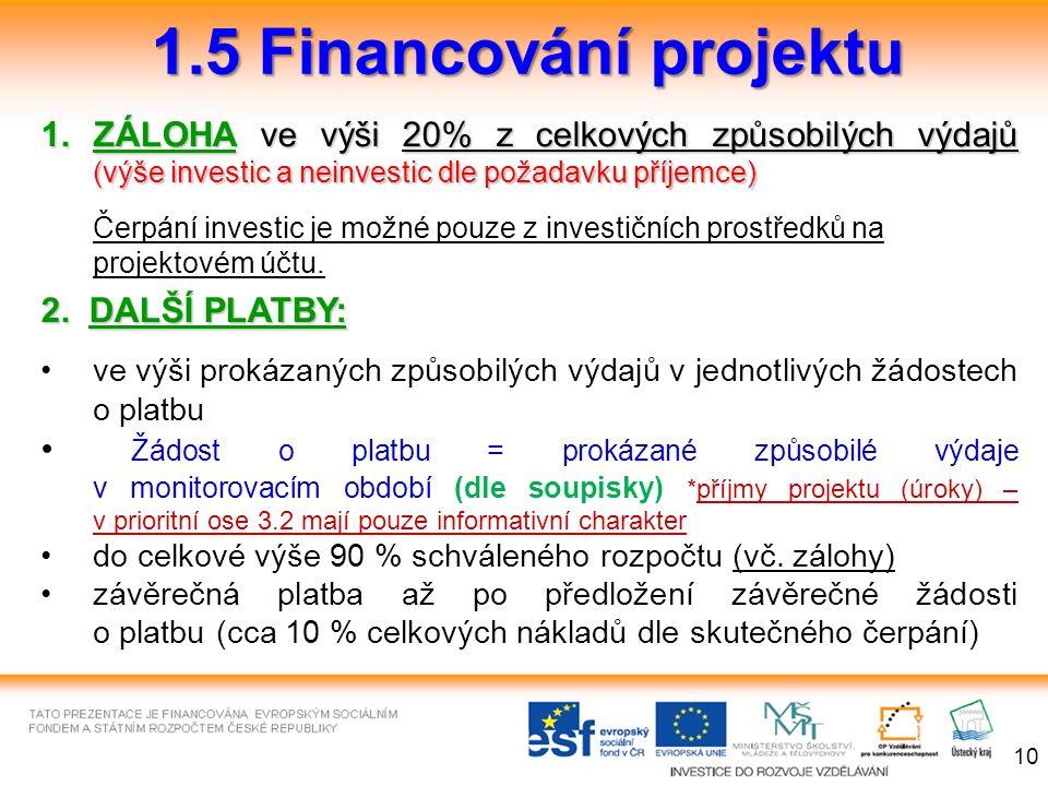 1.5 Financování projektu 1.ZÁLOHAve výši 20% z celkových způsobilých výdajů (výše investic a neinvestic dle požadavku příjemce) 1.ZÁLOHA ve výši 20% z celkových způsobilých výdajů (výše investic a neinvestic dle požadavku příjemce) Čerpání investic je možné pouze z investičních prostředků na projektovém účtu.