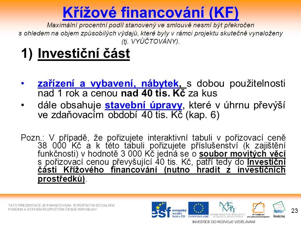 23 Křížové financování (KF) Křížové financování (KF) Maximální procentní podíl stanovený ve smlouvě nesmí být překročen s ohledem na objem způsobilých výdajů, které byly v rámci projektu skutečně vynaloženy (tj.