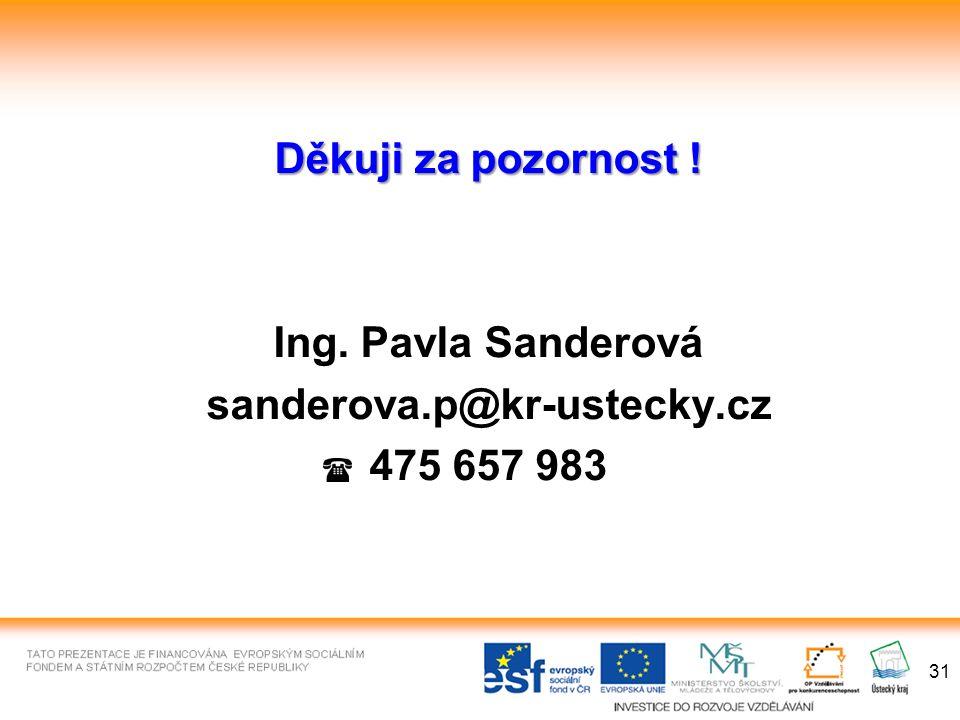 31 Děkuji za pozornost ! Ing. Pavla Sanderová sanderova.p@kr-ustecky.cz 475 657 983