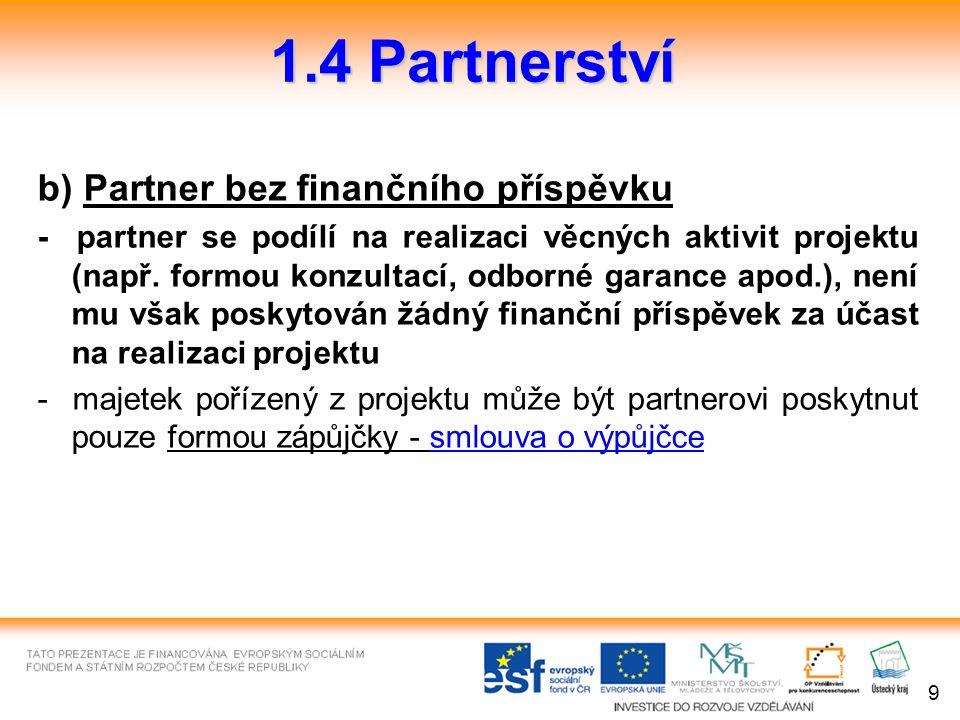 b) Partner bez finančního příspěvku - partner se podílí na realizaci věcných aktivit projektu (např.