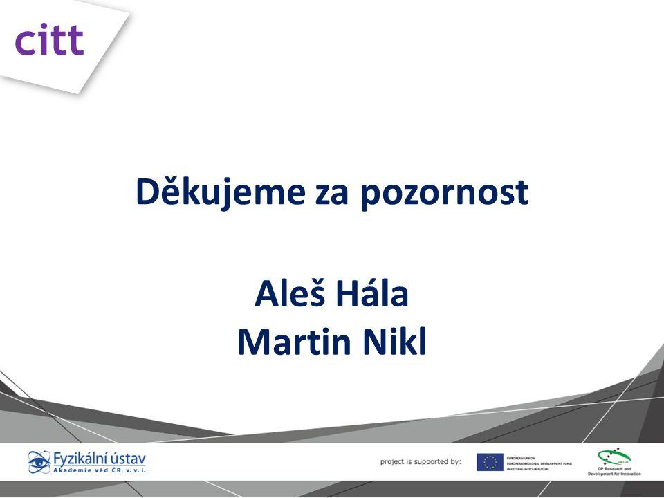 Děkujeme za pozornost Aleš Hála Martin Nikl citt