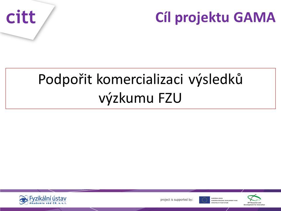 citt Účel projektu GAMA Komercializace výsledků výzkumu FZU  Prodej licence k know-how, patentům a užitným vzorům  Založení technologických spin-off firem s know-how vytvořeným na FZÚ