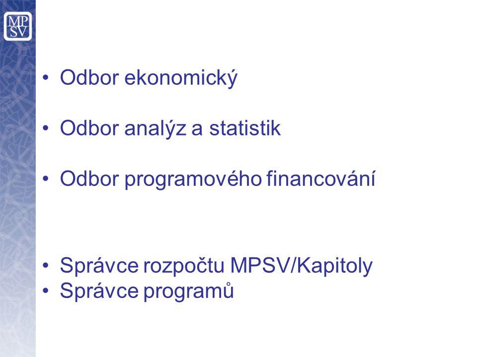 Odbor ekonomický Odbor analýz a statistik Odbor programového financování Správce rozpočtu MPSV/Kapitoly Správce programů