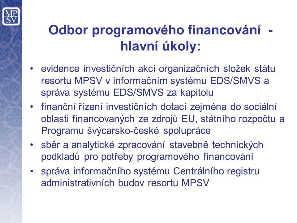 Odbor programového financování - hlavní úkoly: evidence investičních akcí organizačních složek státu resortu MPSV v informačním systému EDS/SMVS a správa systému EDS/SMVS za kapitolu finanční řízení investičních dotací zejména do sociální oblasti financovaných ze zdrojů EU, státního rozpočtu a Programu švýcarsko-české spolupráce sběr a analytické zpracování stavebně technických podkladů pro potřeby programového financování správa informačního systému Centrálního registru administrativních budov resortu MPSV