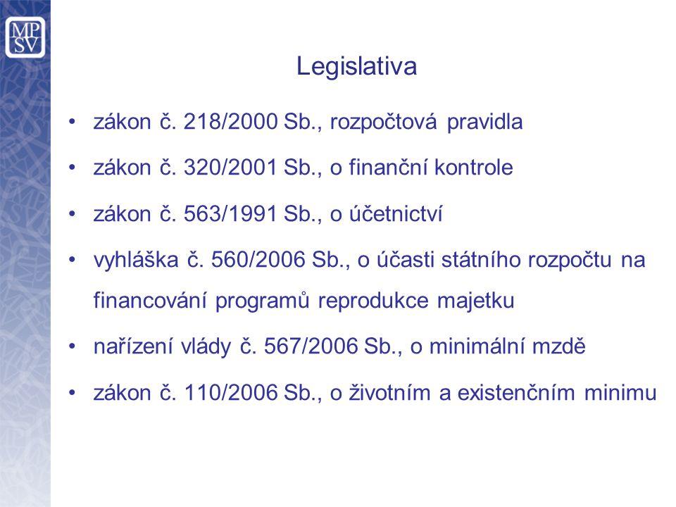 Legislativa zákon č. 218/2000 Sb., rozpočtová pravidla zákon č. 320/2001 Sb., o finanční kontrole zákon č. 563/1991 Sb., o účetnictví vyhláška č. 560/
