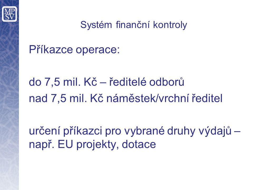 Příkazce operace: do 7,5 mil. Kč – ředitelé odborů nad 7,5 mil. Kč náměstek/vrchní ředitel určení příkazci pro vybrané druhy výdajů – např. EU projekt