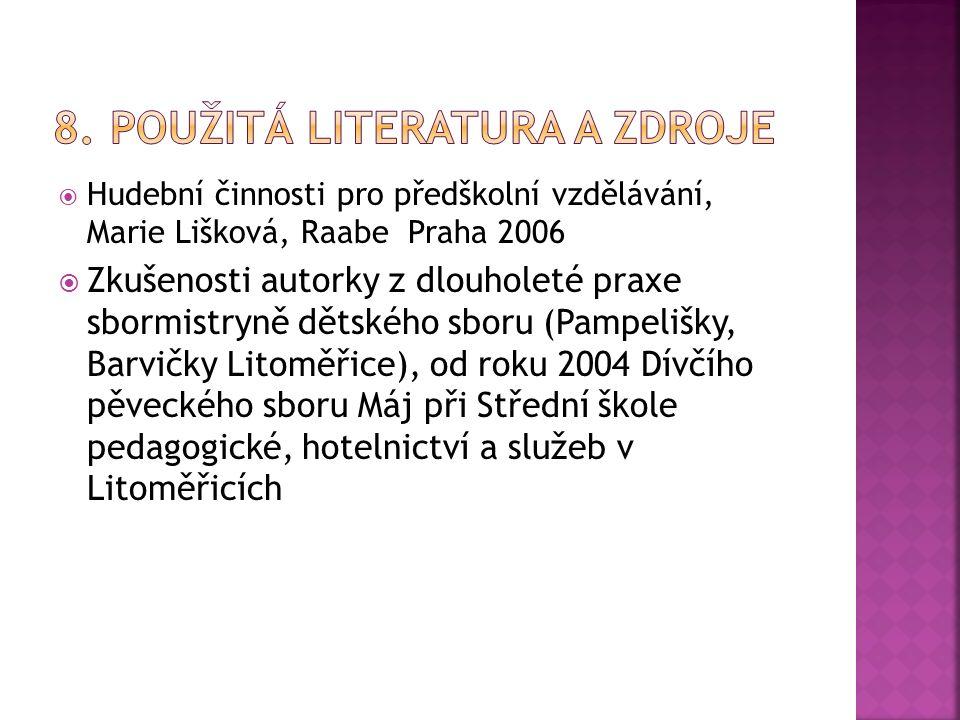  Hudební činnosti pro předškolní vzdělávání, Marie Lišková, Raabe Praha 2006  Zkušenosti autorky z dlouholeté praxe sbormistryně dětského sboru (Pam