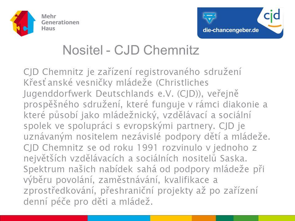 Nositel - CJD Chemnitz CJD Chemnitz je zařízení registrovaného sdružení Křesťanské vesničky mládeže (Christliches Jugenddorfwerk Deutschlands e.V.