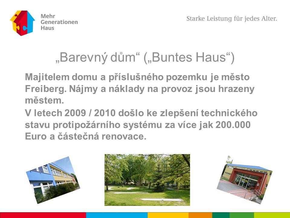 """""""Barevný dům (""""Buntes Haus ) Majitelem domu a příslušného pozemku je město Freiberg."""