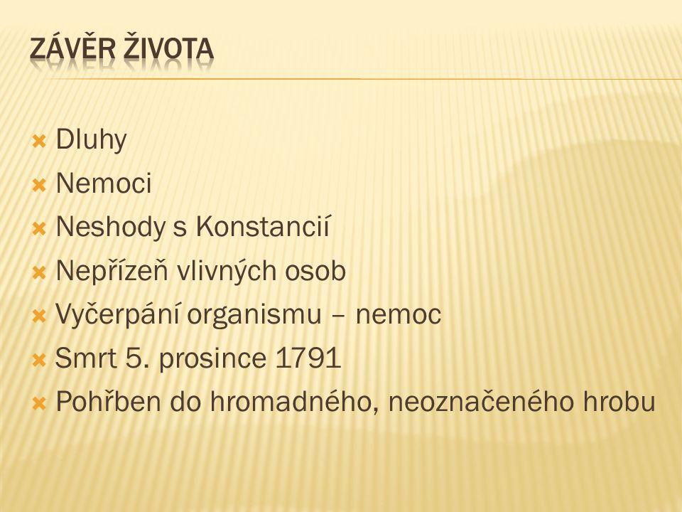  Dluhy  Nemoci  Neshody s Konstancií  Nepřízeň vlivných osob  Vyčerpání organismu – nemoc  Smrt 5.