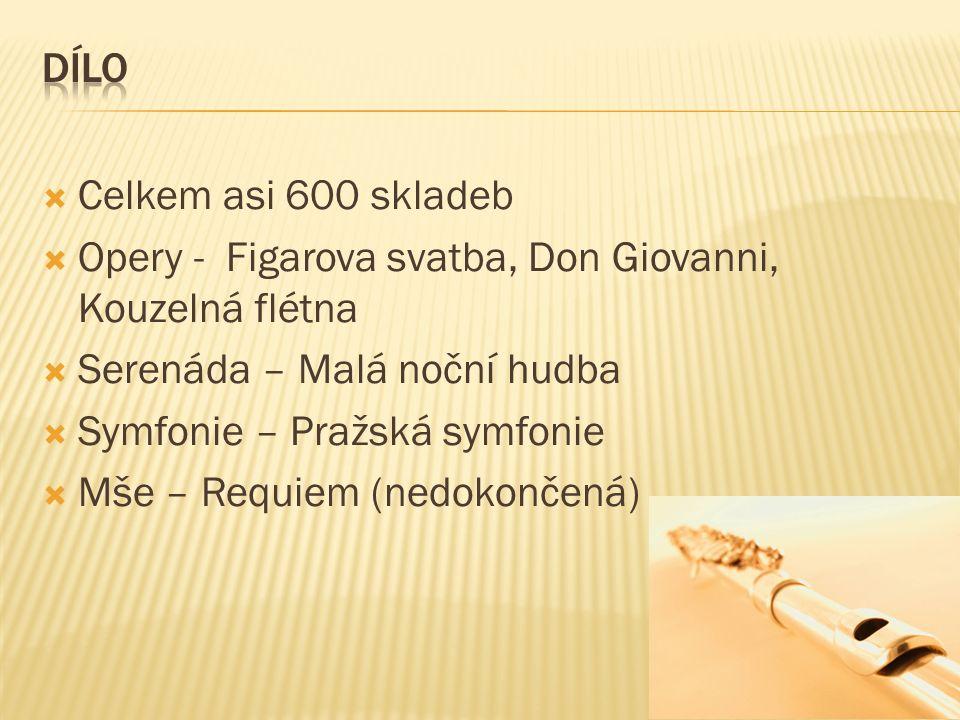  Celkem asi 600 skladeb  Opery - Figarova svatba, Don Giovanni, Kouzelná flétna  Serenáda – Malá noční hudba  Symfonie – Pražská symfonie  Mše – Requiem (nedokončená)