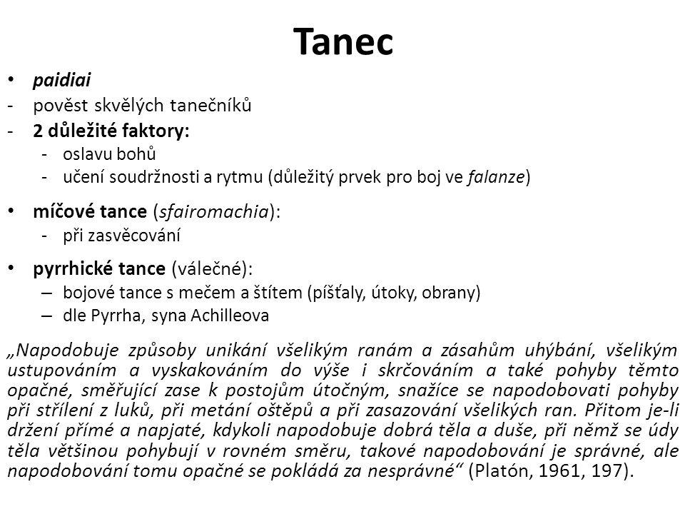 """Tanec paidiai -pověst skvělých tanečníků -2 důležité faktory: -oslavu bohů -učení soudržnosti a rytmu (důležitý prvek pro boj ve falanze) míčové tance (sfairomachia): -při zasvěcování pyrrhické tance (válečné): – bojové tance s mečem a štítem (píšťaly, útoky, obrany) – dle Pyrrha, syna Achilleova """"Napodobuje způsoby unikání všelikým ranám a zásahům uhýbání, všelikým ustupováním a vyskakováním do výše i skrčováním a také pohyby těmto opačné, směřující zase k postojům útočným, snažíce se napodobovati pohyby při střílení z luků, při metání oštěpů a při zasazování všelikých ran."""