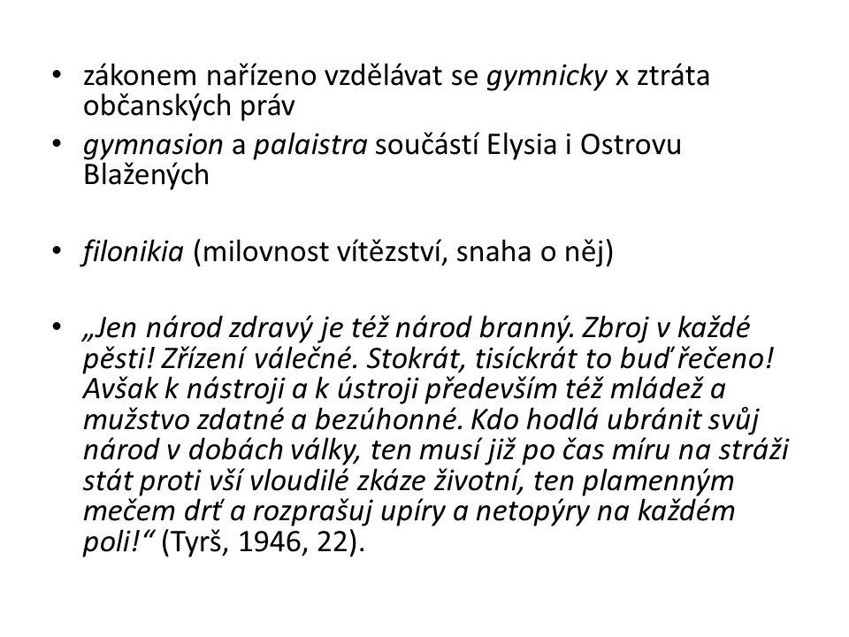 zákonem nařízeno vzdělávat se gymnicky x ztráta občanských práv gymnasion a palaistra součástí Elysia i Ostrovu Blažených filonikia (milovnost vítězst