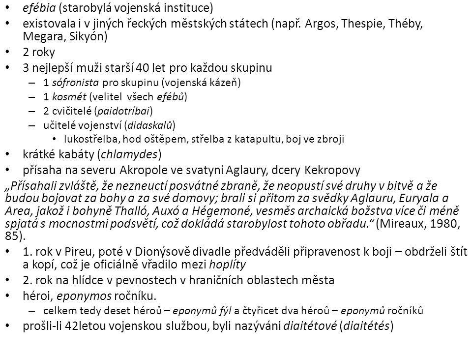 efébia (starobylá vojenská instituce) existovala i v jiných řeckých městských státech (např. Argos, Thespie, Théby, Megara, Sikyón) 2 roky 3 nejlepší