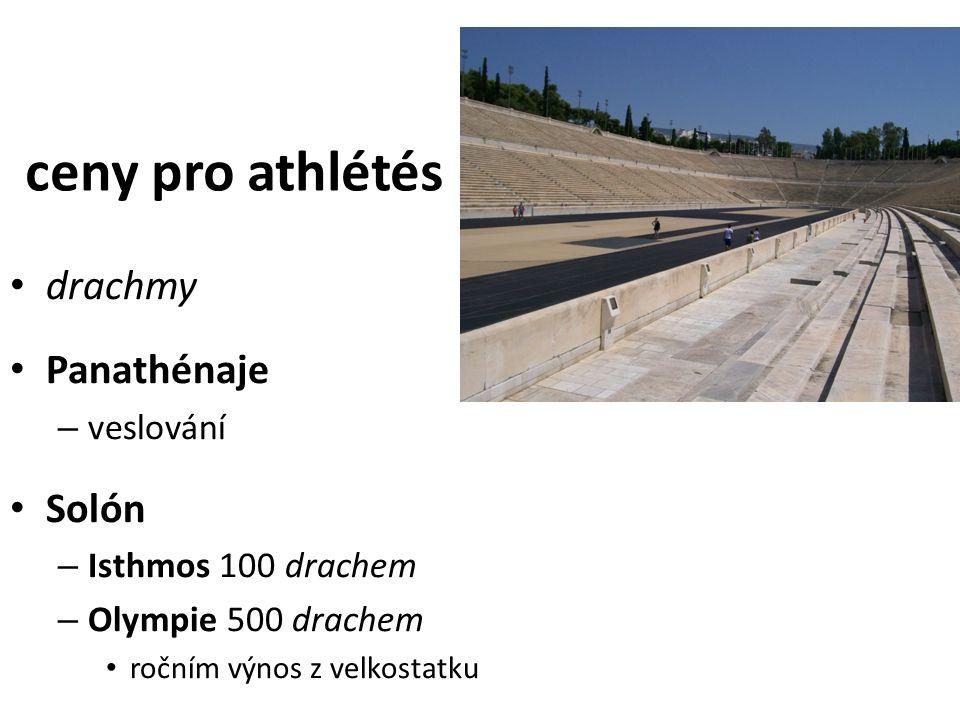 ceny pro athlétés drachmy Panathénaje – veslování Solón – Isthmos 100 drachem – Olympie 500 drachem ročním výnos z velkostatku