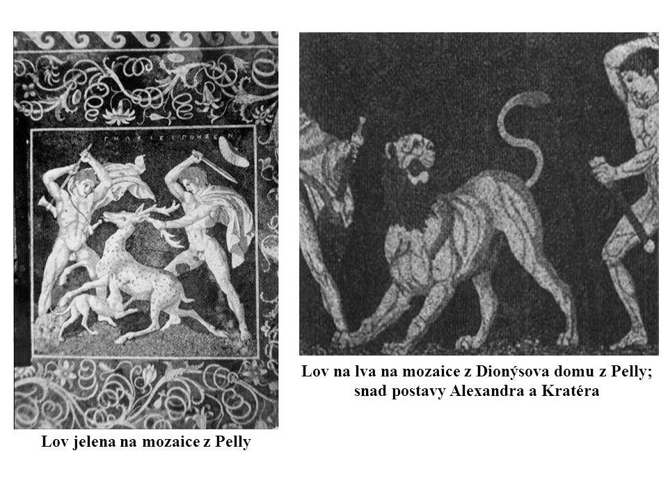 Lov jelena na mozaice z Pelly Lov na lva na mozaice z Dionýsova domu z Pelly; snad postavy Alexandra a Kratéra