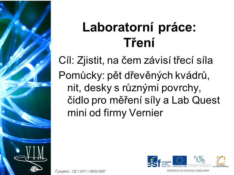 Č.projektu : CZ.1.07/1.1.06/03.0057 Laboratorní práce: Tření Cíl: Zjistit, na čem závisí třecí síla Pomůcky: pět dřevěných kvádrů, nit, desky s různými povrchy, čidlo pro měření síly a Lab Quest mini od firmy Vernier
